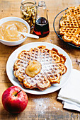 Classic waffles with apple sauce