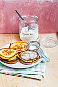 Classic pancakes with icing sugar