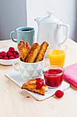 French toast sticks with raspberry jam for brunch