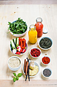 Colourful ingredients for a healthy breakfast