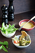 Vegetable tempura with fondue sauce