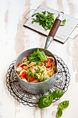 One pot pasta with tomatoes and chicken sausages