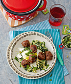 Meatballs with green couscous