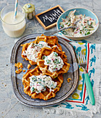 Savoury waffles with radish quark
