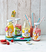 Smoothies in bottles with animal stickers