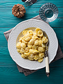 Traditional Italian pasta Orecchiette with spiced cauliflower and grated Parmesan cheese