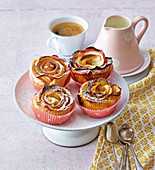 Quick puff pastry apple flowers in muffin cases