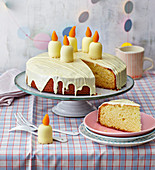 A birthday cake with white chocolate marshmallow candles