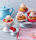 Raspberry cupcakes with cream cheese frosting
