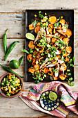 Chilli chicken, lime and corn nachos