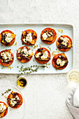 Mini pumpkin and goat s cheese pizzas