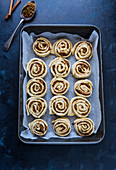 Cinnamon rolls are ready to bake