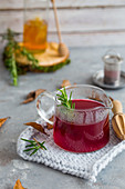 Hibiscus tea in a pot