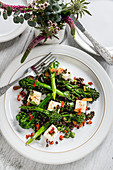 Broccoli with halloumi and puy lentils