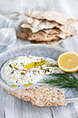 Skyr and dill dip with crispbread (Scandinavia)