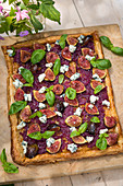 A fig tart with basil and blue cheese