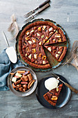 A brownie tart with chocolate confectionery