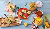 Vegetarian, Mediterranean and Oriental sandwich spreads