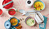 Four colourful vegetable soups to take away