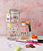Painted lunch jars for children