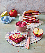 Wholemeal bread with a beetroot and apple spread