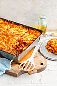 False maccaroni lasagne on a baking tray
