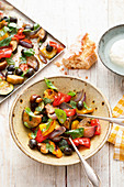 Mediterranean vegetable salad on a baking tray