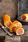 Sausages with sauerkraut wrapped in pastry