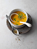 Pumpkin and ginger soup with fresh coriander