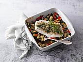 Kräuter-Seelachs auf mediterranem Gemüse