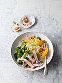 Orange and fennel salad with turkey slices