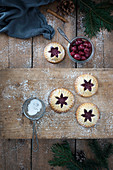 Vegan Christmas pies filled with sour cherrries