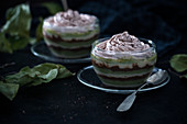Vegan layered dessert with matcha and chocolate rice milk cream, dark chocolate semolina and nougat cream