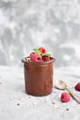 Vegan chocolate mousse made with raw cocoa powder, dry dates, cachews and coconut oil