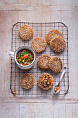 Amaranth potato cakes with a tomato and coriander salsa