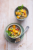 Vegan turnip stew with buckwheat