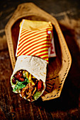 Tex-Mex burrito con pollo to take away