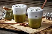 Iced matcha lattes