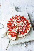 Pan-baked strawberry and elderflower cake with white chocolate