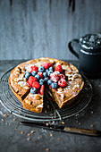 Pan-baked chocolate cheesecake with berries