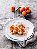 Apricot and almond crumble with vanilla cream