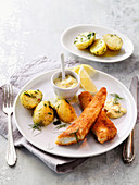 Fried zander with remoulade and parsley potatoes