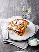 Vegetable frittata with mushrooms and pecorino cheese