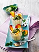 Semolina pudding with mint pesto