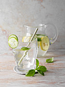 Flavoured basil and cucumber water
