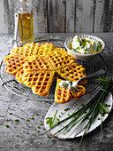 Vegetable waffles with herb quark