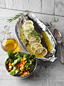 Oven-baked trout with a fruity winter salad