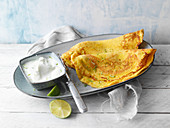 Almond crepes with lime yoghurt