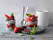 Chia almond drink pudding with berries