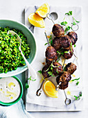 Lamb kofte with pea tabbouleh and garlic yoghurt